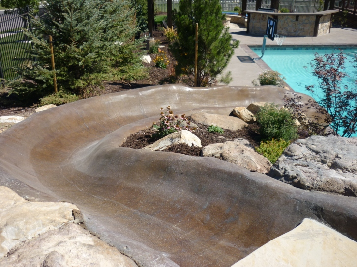 Gunite water slide into a swimming pool chris jensen for Pool design utah