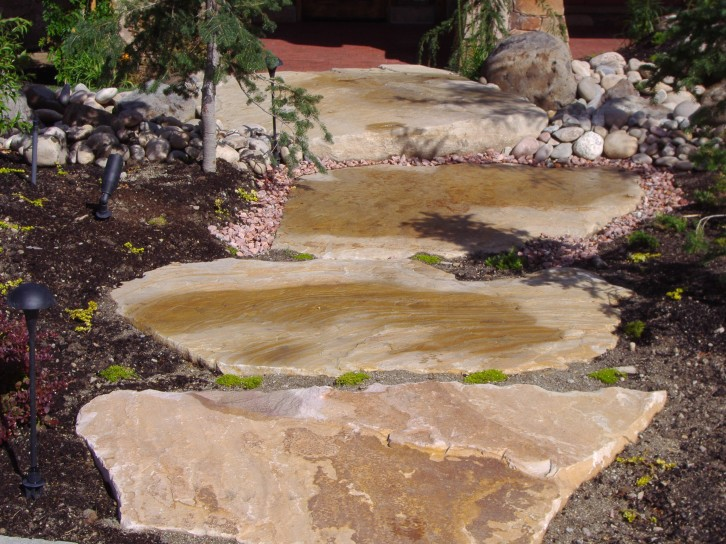 Large slab rock flagstone steps chris jensen landscaping for Landscaping rocks in salt lake city