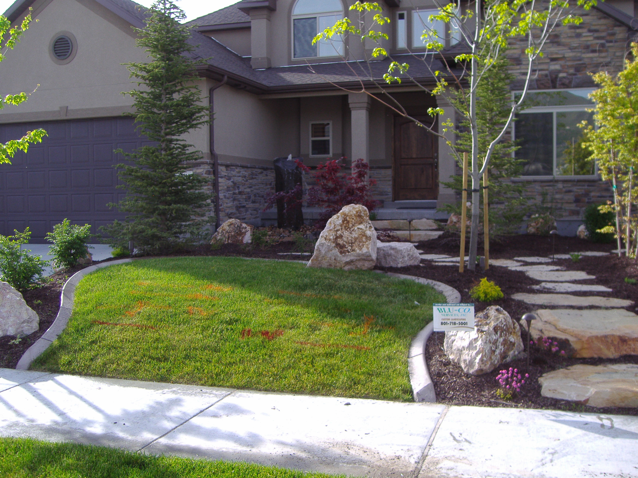Large trees placed just right in a small front yard for Landscaping a small area in front of house