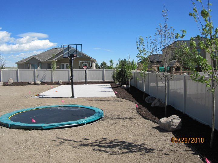 Backyard Landscaping Sports Court And Trampoline In