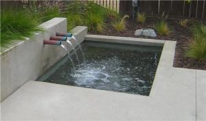 Landscaping, design, Water feature in the backyard