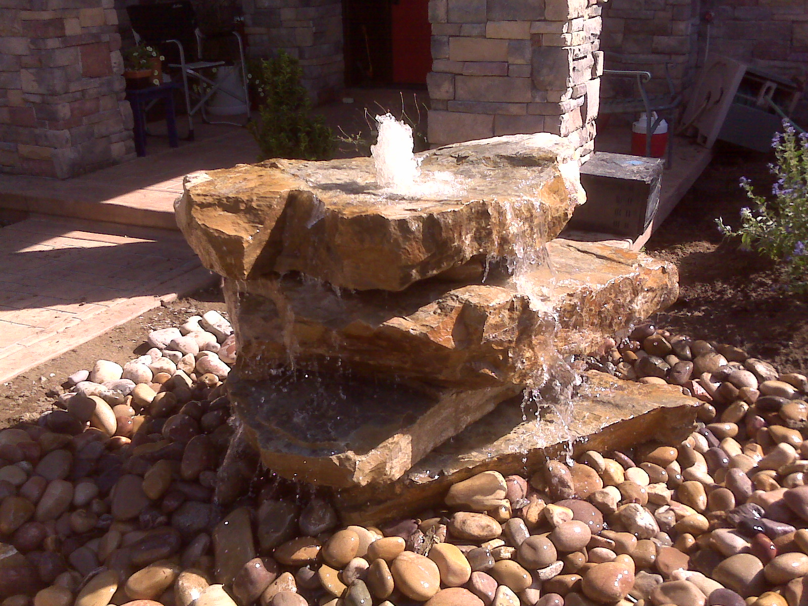Utah landscapers landscaping relandscaping and adding for Garden rock waterfall fountain