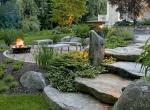 natural-backyard-rustic-backyard-Landscaping, fire pits,  design, patios, Water feature in the backyard