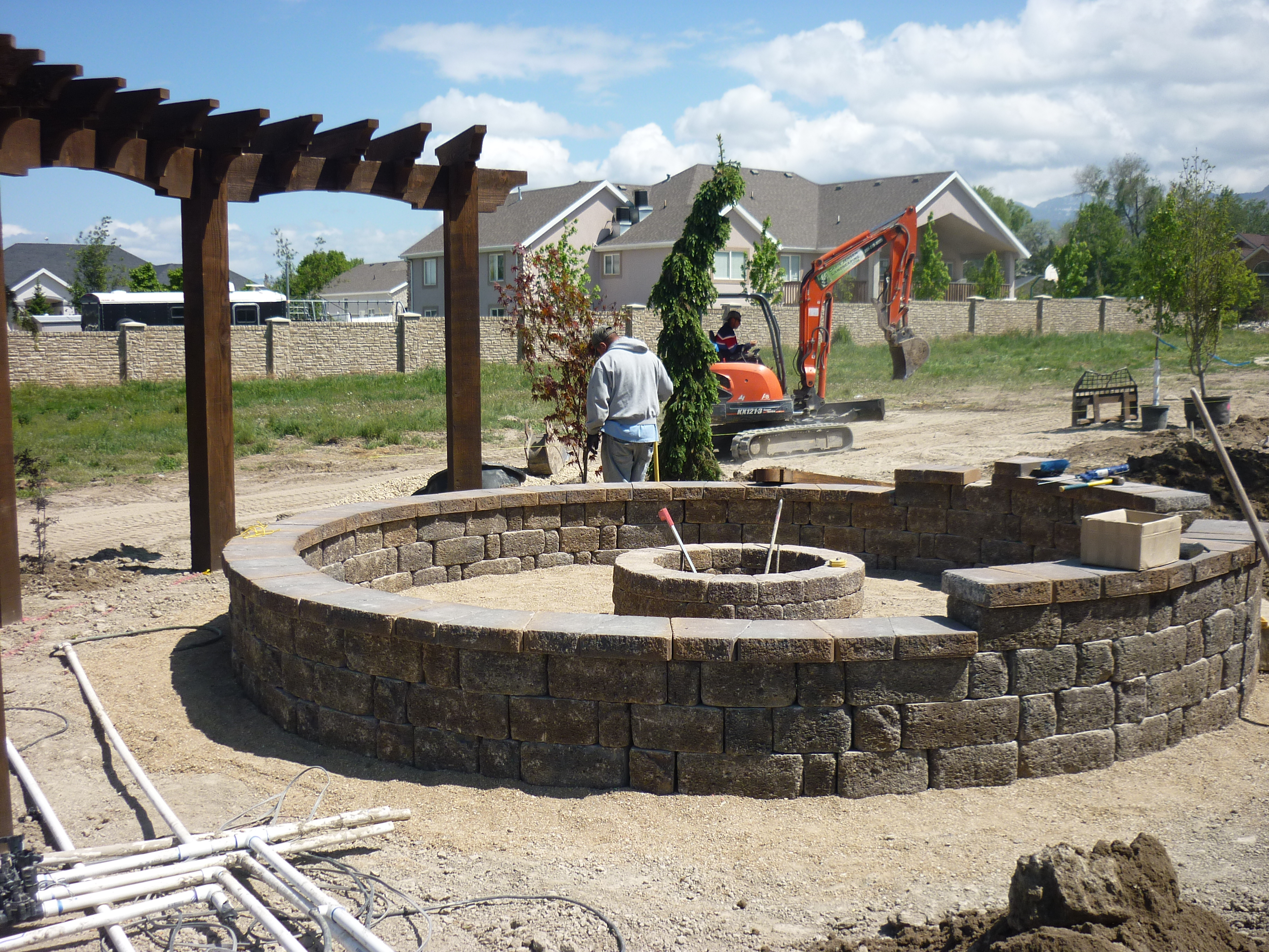Fire pit natural gas in Pavers and flagstone and walls  Chris Jensen