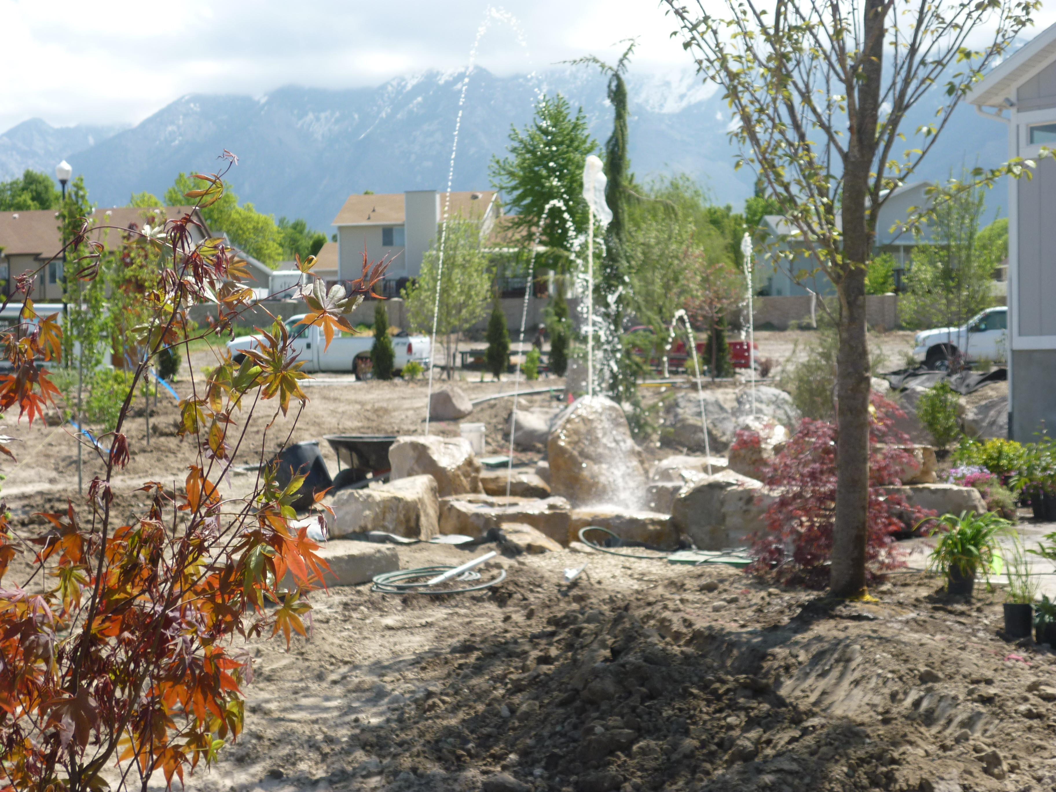 Utah landscaper landscaping the front and backyard for Pool design utah