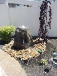 Drilled rock for a water fountain
