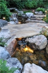 stone-bridge-Landscaping, design, Water feature and stream in the backyard