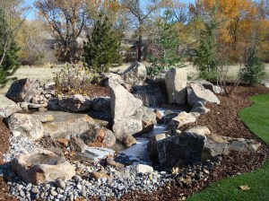 Landscaping, design, Water feature and stream in the backyard