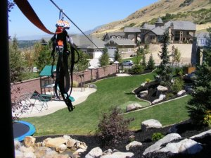 Zipline in the backyard in Draper Utah