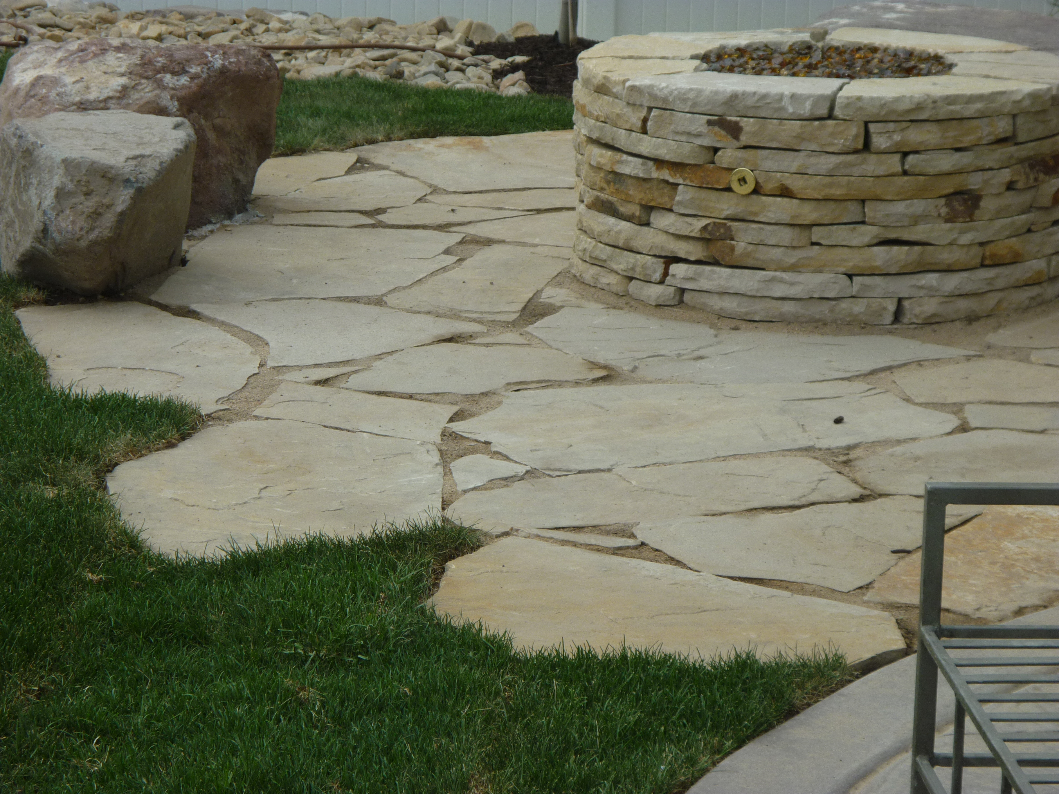 100 flagstone patio in grass flagstone flagstone for Landscaping rocks utah county