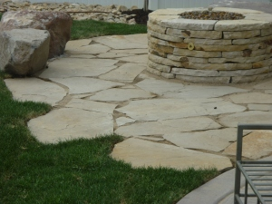 Flagstone in grass