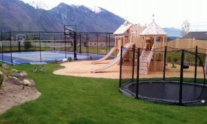 Sports court, Trampoline in the ground, Play ground, Backyard landscaping, Landscape contractor in Alpine, Utah