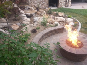 Fire pit, paver patio, waterfalls